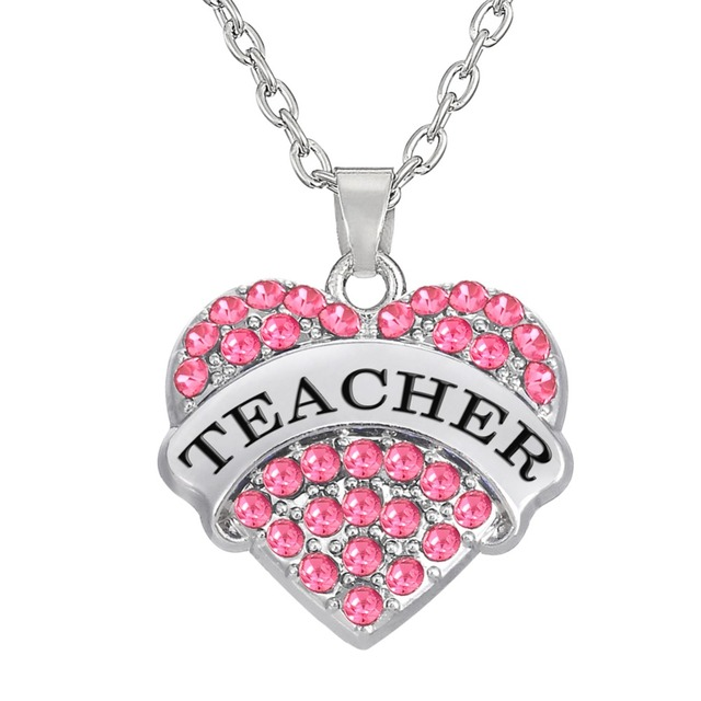 My Shape Pink Crystal Heart Teacher Pendant Necklace Graduation Gift