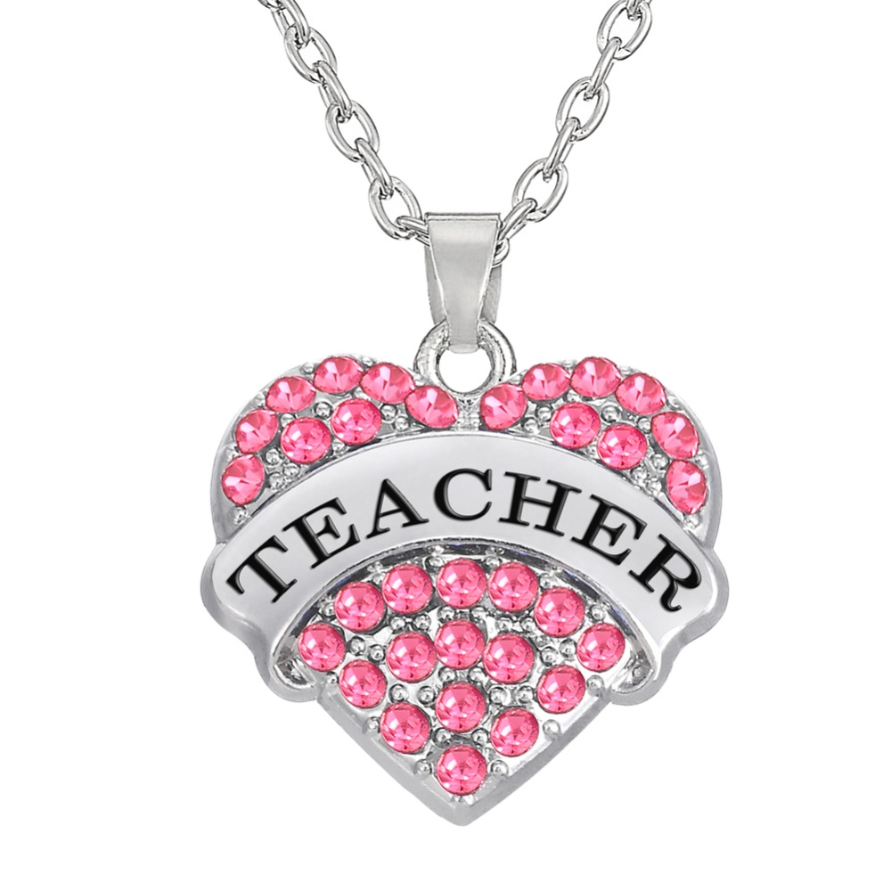 my shape Pink Crystal Heart Teacher Pendant Necklace Graduation Gift Jewelry or Teachers Day Gifts for Women