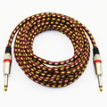 Fabric Braided 1/4'' Jack 6.35mm to 6.35mm Audio Cable Male to Male For Amplifier Electric Guitar Mixer 3m 6m 10m