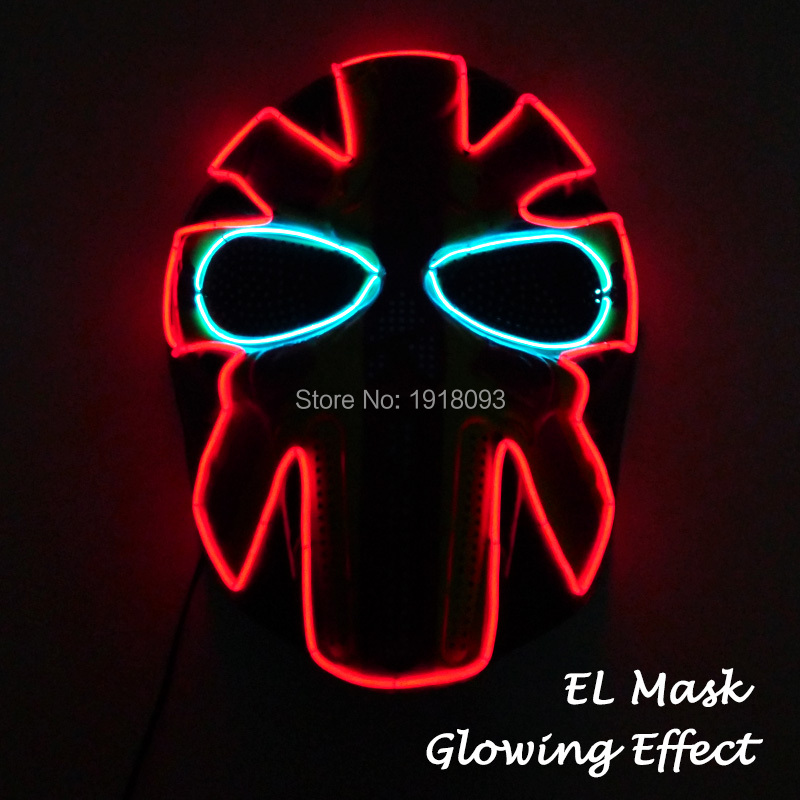 2018 Hot EL wire Led Holiday lighting Prom plastic mask and For Carniaval Party Club Bar Glowing Full Face Mask custom color
