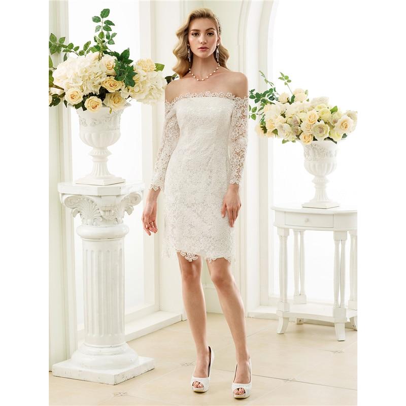 LAN TING BRIDE Sheath Column Wedding Dress Long Sleeves