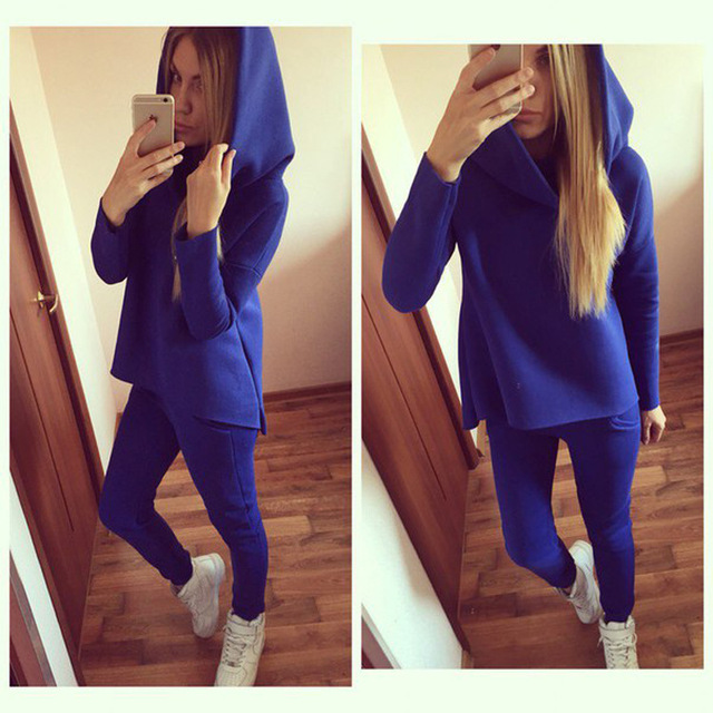 2016 AliExpress European and American Fashion Women's Tight Fitting Sets Hoodies Fleece Two-piece Suits