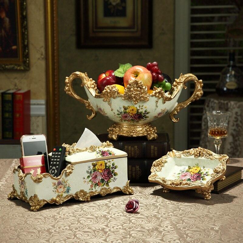 European Luxury Retro Resin Fruit Bowl Plates Tissue Box Ashtray Crafts Ornament Home Coffee Bar KTV Table Figurines Decoration