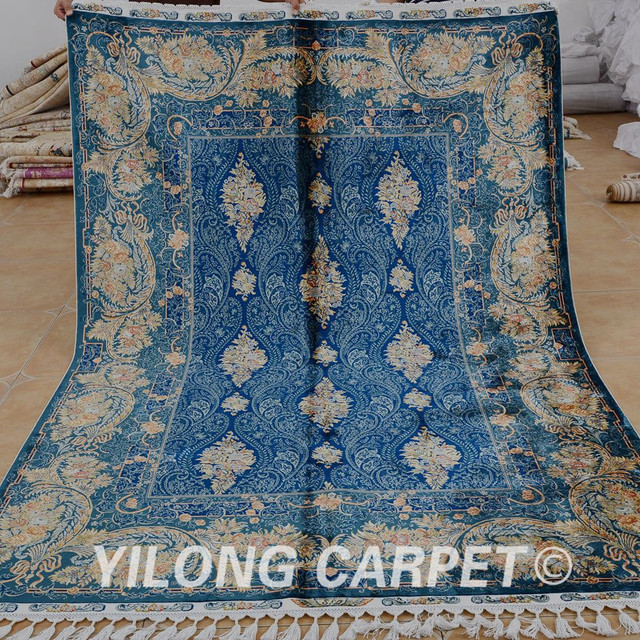Yilong 5.6'x8.2' Antique Handmade Turkey Carpet Dark Blue