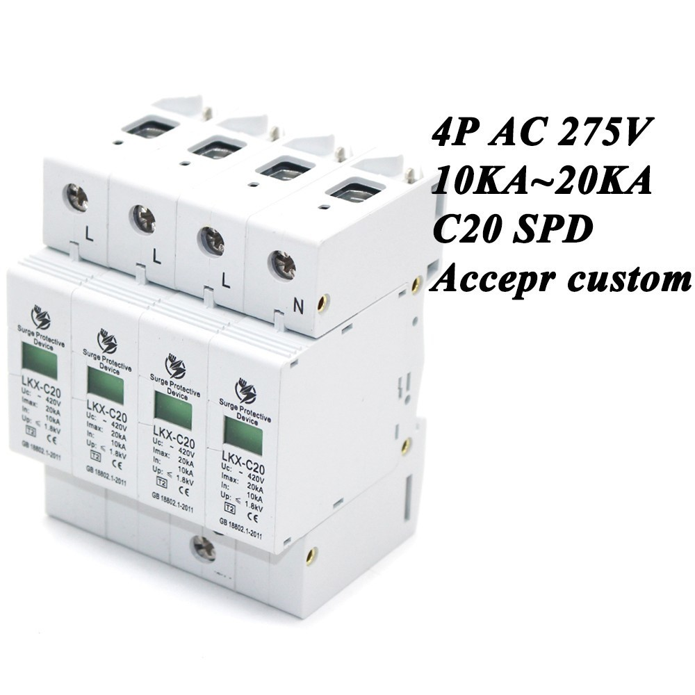 цена на Hot sale C20-4P 10KA~20KA ~275V AC SPD House Surge Protector Protective Low-voltage Arrester Device 3P+N Lightning protection