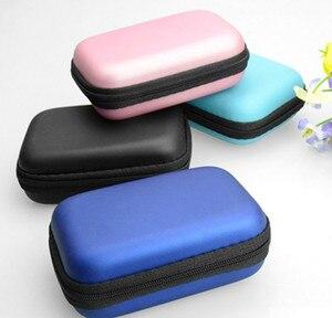 Image 3 - Mini fermeture éclair dur casque étui EVA cuir écouteur sac de protection Usb câble organisateur Portable écouteurs poche boîte