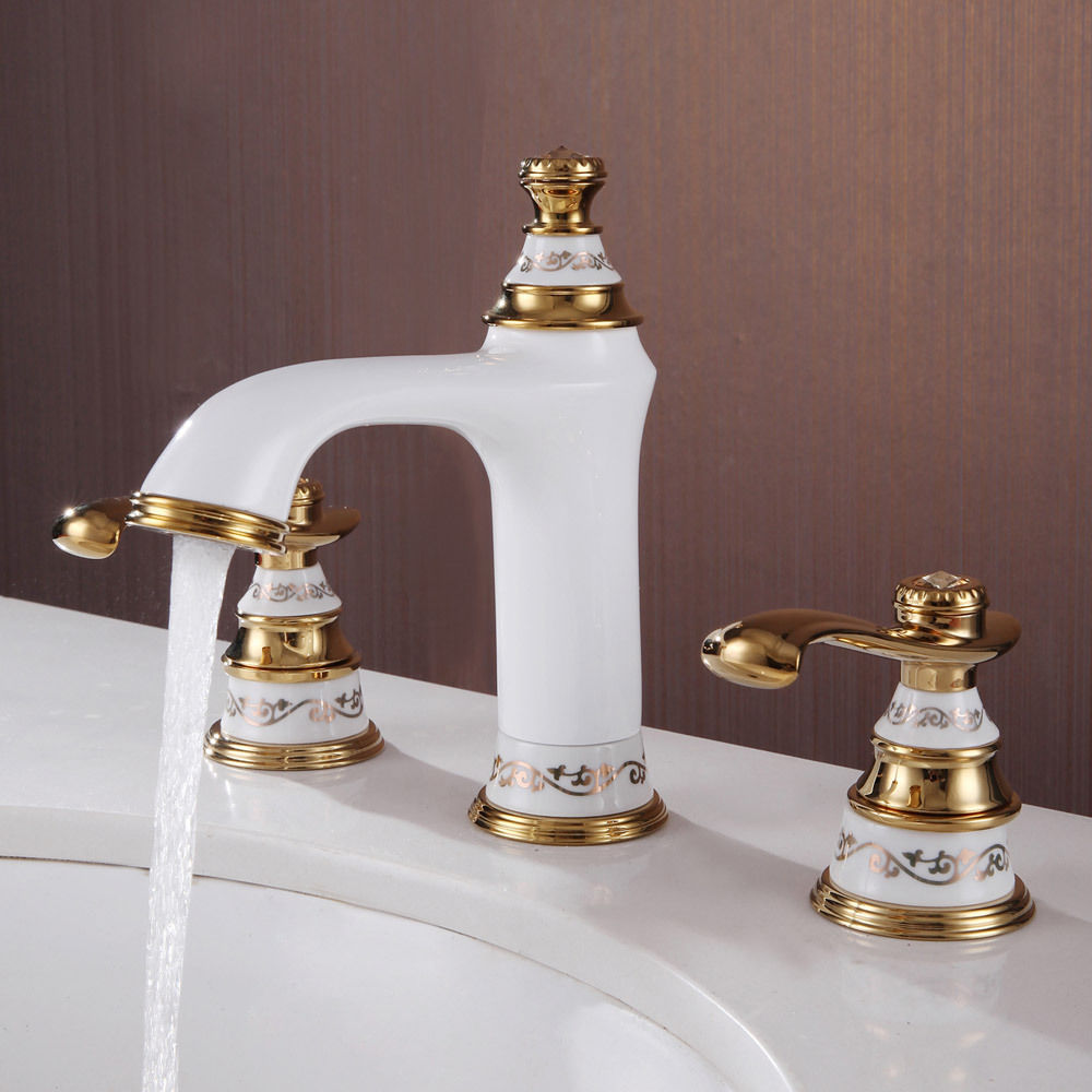 Free Shipping White Gold 8 Widespread Lavatory Bathroom Sink Faucet 3 Holes Bath Sink Faucet
