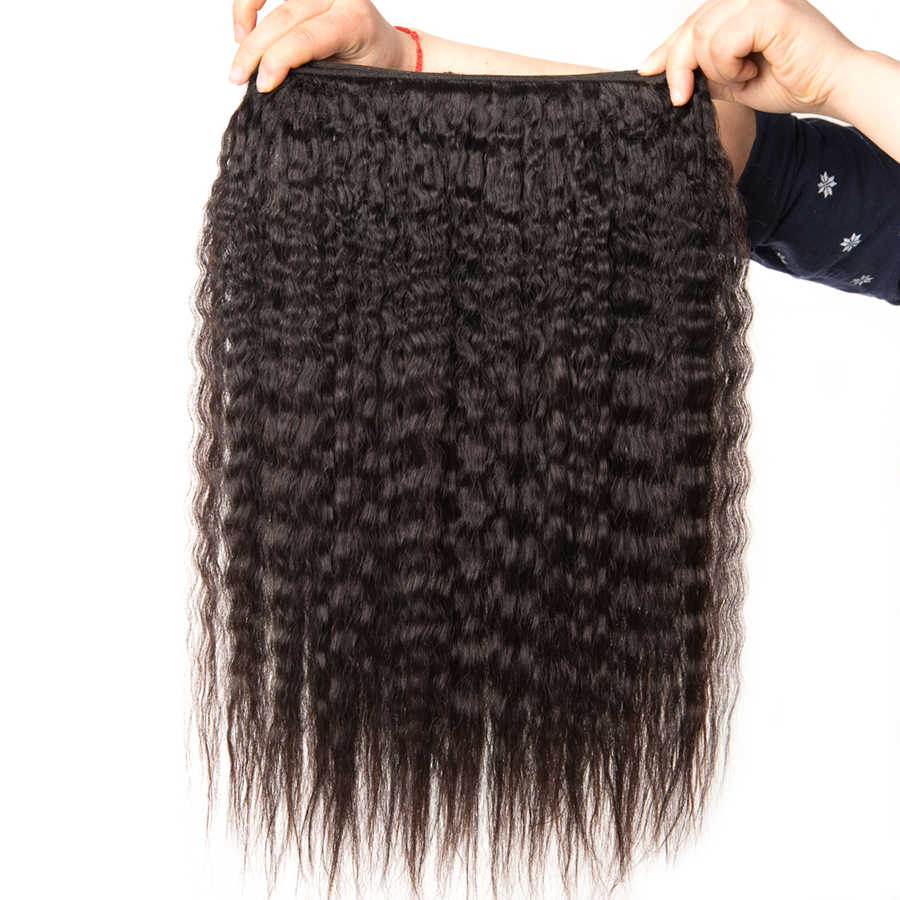 Mslynn 360 Lace Frontal With Bundle Kinky Straight Hair 3 Bundle Deals Peruvian Hair Bundles With Closure Human Hair Remy