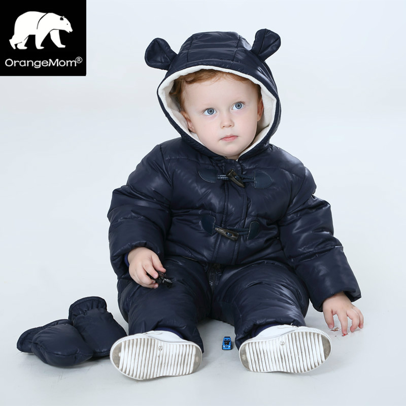 New 2017 Russia winter -30 degree duck down coats Waterproof + fleece warm jackets for girls boys jumpsuit kids winter orangemom