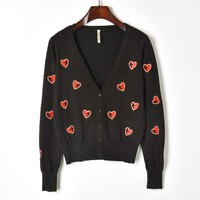 Makuluya RED Heart Embroidery V neck Solid Vintage Cute Knitted Cardigan Sweater Spring Autumn Summer Women Slim Coat Girl QW