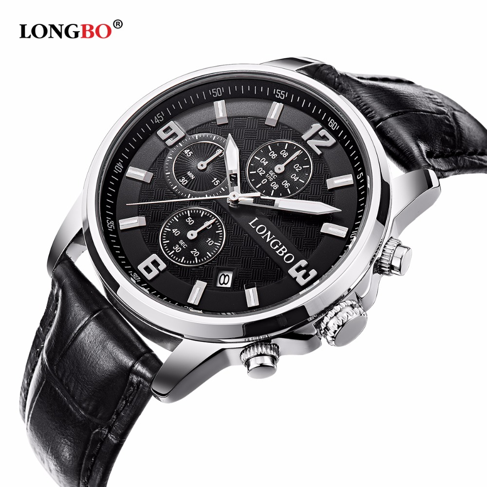 LONGBO WristWatches 2017 Top Luxury Brand Men's Quartz Watch Men Fashion Casual Leather Strap Waterproof father day gift Watches