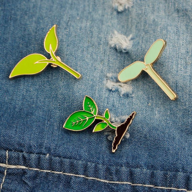 New 1 Piece Cute Green Leaf Badge Button On Enamel Brooch Fashion Women Kids Backpack Bag Dress Collar Hoodies Decorations