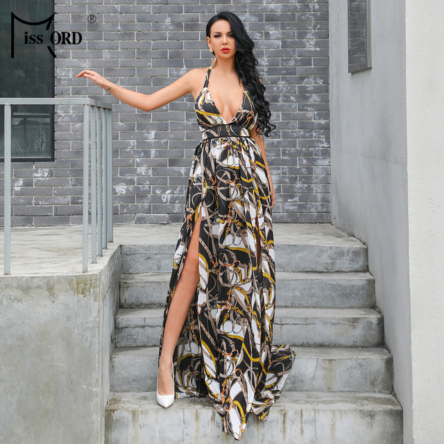 f6d62f3f9c40a Missord 2019 verano mujer Sexy V profunda hombro vestidos sin espalda Mujer  dos dividir ropa Maxi vestido FT18860