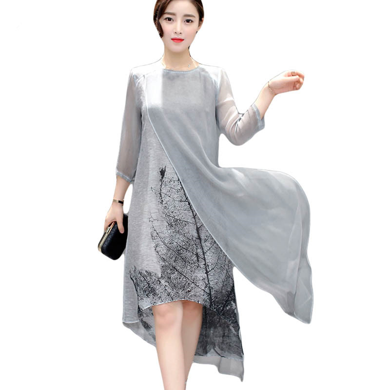 Fashion Women Spring Summer Dress print casual Loose vintage Dress elegant Irregular Maxi Plus Size Dresses