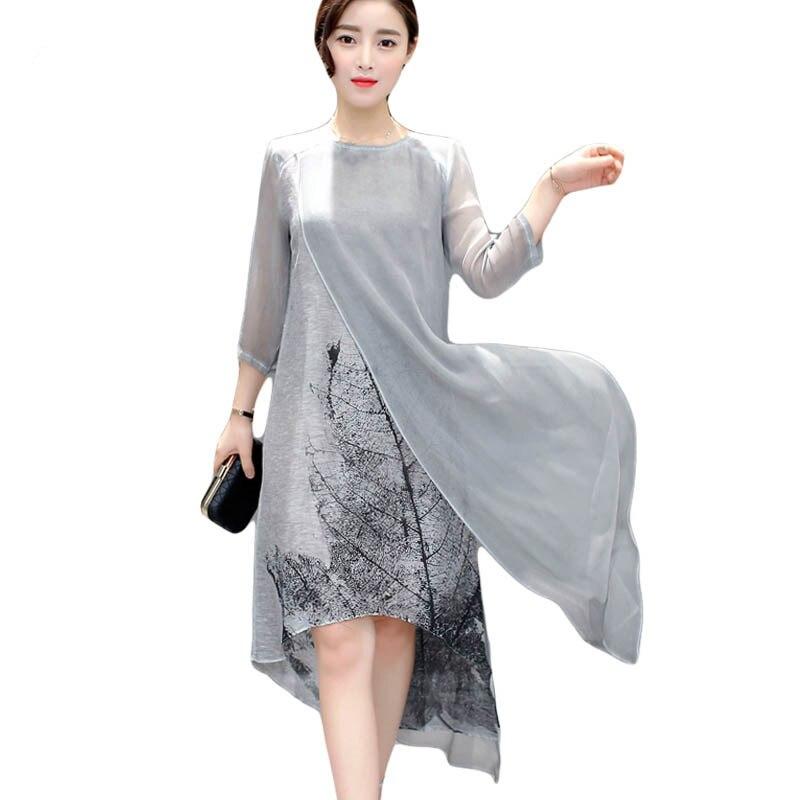 US $14.82 62% OFF|Fashion Women Spring Summer Dress print casual Loose  vintage Dress elegant Irregular Maxi Plus Size Dresses vestidos 5XL-in  Dresses ...