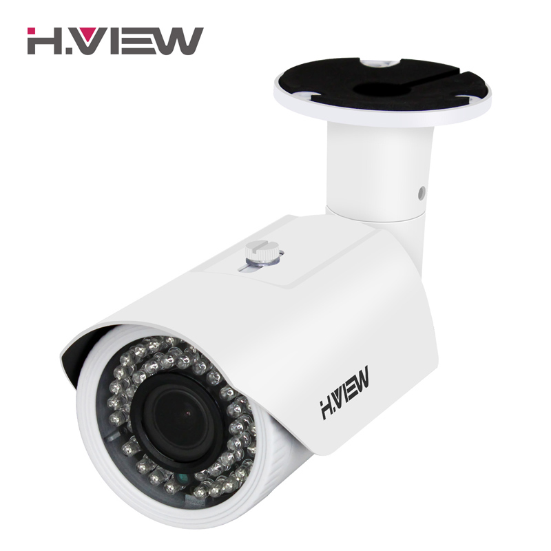 H.View IP Camera POE 4mp 2.8-12mm Vari-focal Lens Outdoor CCTV Cameras with Audio Input Connector iPhone Android Remote Access qhy5l ii c imager guider cameras with free a 8mm cctv lens