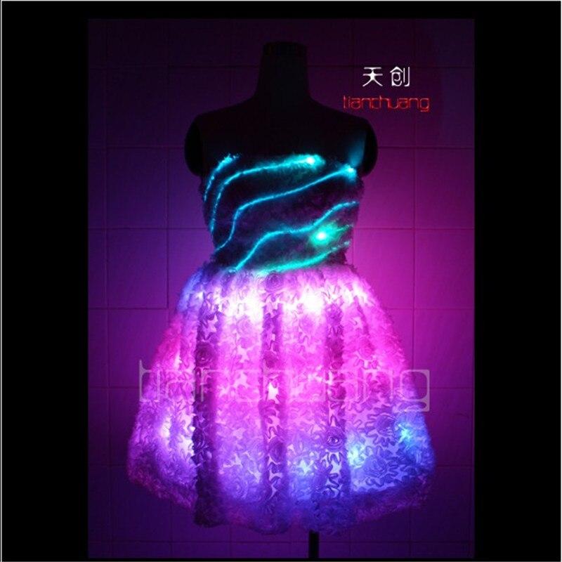 TC-7 Colorful women LED costumes Full color luminous skirt wear ballroom dance ballet RGB light dress programming sexy clothes