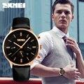 SKMEI бренд мужской Moon Phase Кварцевые Часы мода аналоговый кварцевые часы 30 М водонепроницаемый Бизнес мужчины Наручные Часы Кожа часы