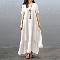 Summer Women S Pastorable Rural Casual Loose Short Sleeve Full Hem Long Dress