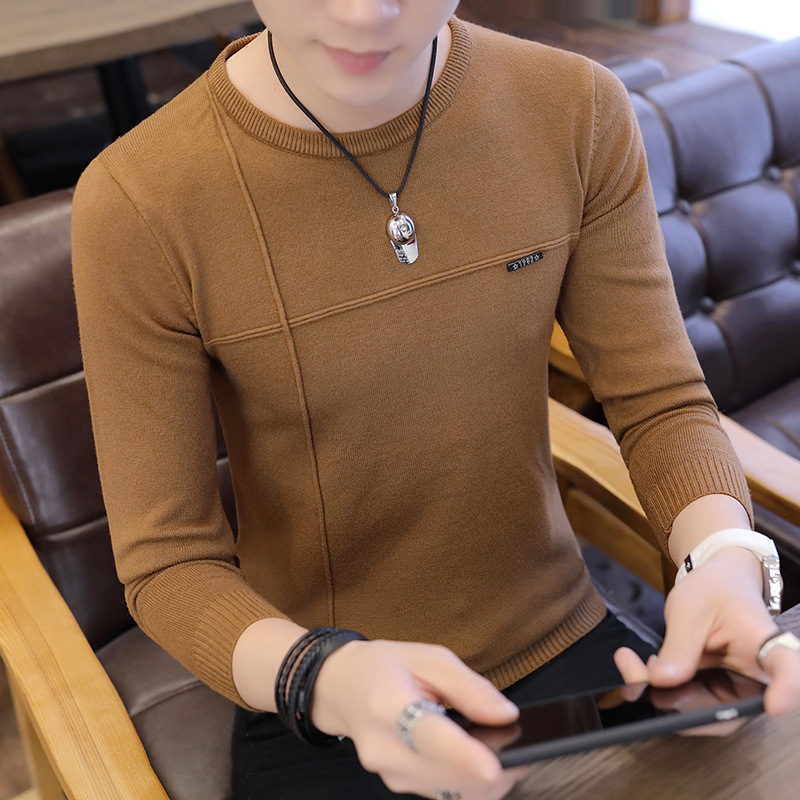 Long Sleeve Knit Sweater Men Fall On The New Round Collar Men Jacket