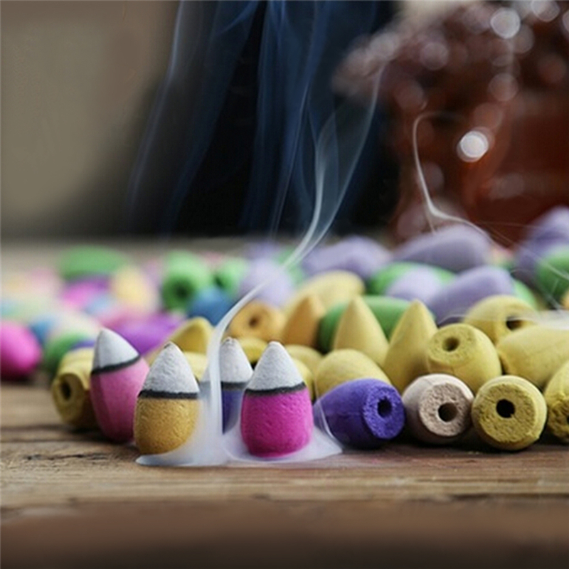 45pcs/set Natural Smoke Backflow Pagoda Incense Indoor Aromatherapy Cone Incense Bullet Sandalwood New