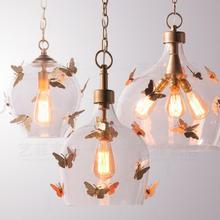 Retro Simple Creative Butterfly Corridor glass pendant lamp  Bedroom Restaurant modern led pendant kitchen lights