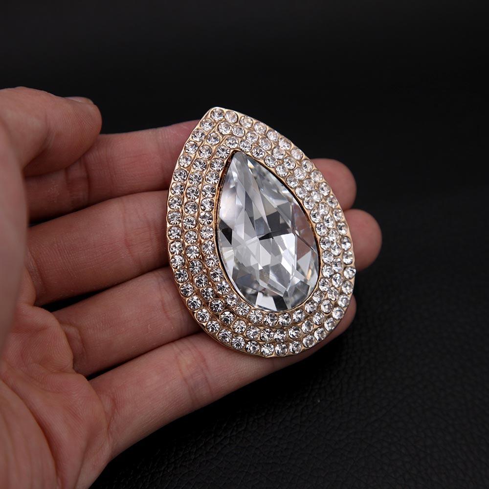 Luksusowa broszka z kryształem górskim i łezką, metalowa, - Modna biżuteria - Zdjęcie 3