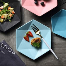 Hexagon Matte Ceramic Plate Nordic Food Storage Tray Western Pizza Breakfast Fruit Dish Ins Popular Tableware