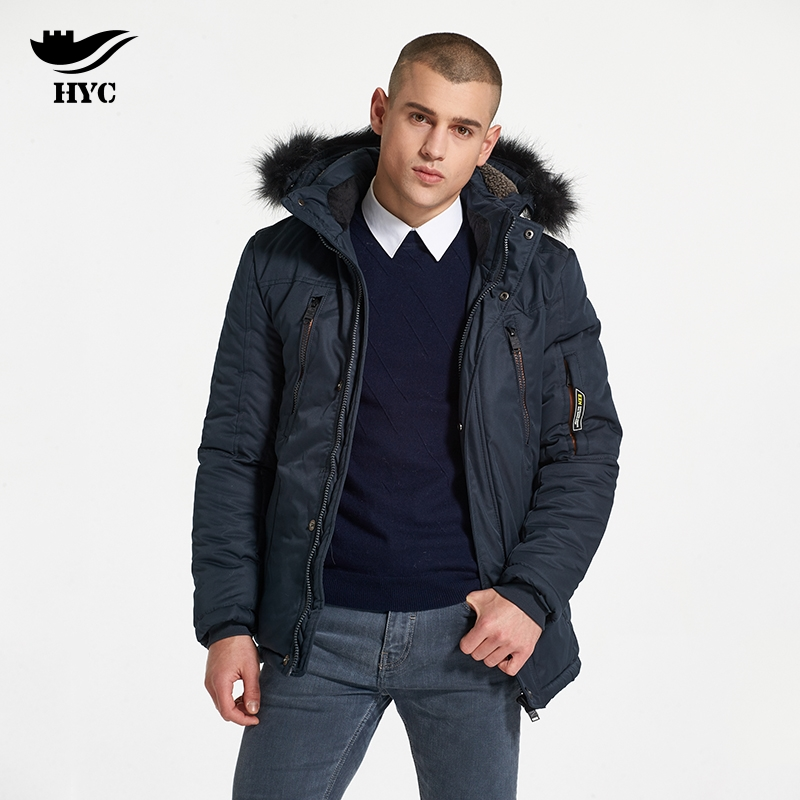 HAI YU CHENG Long Parka Men Winter Jackets Mens Cotton Padded Coat Male Winter Overcoat Pocket Inner Fur Collar Hooded Casual new pure color hooded cotton padded clothing jackets business long thick winter coat men solid parka fashion overcoat outerwear