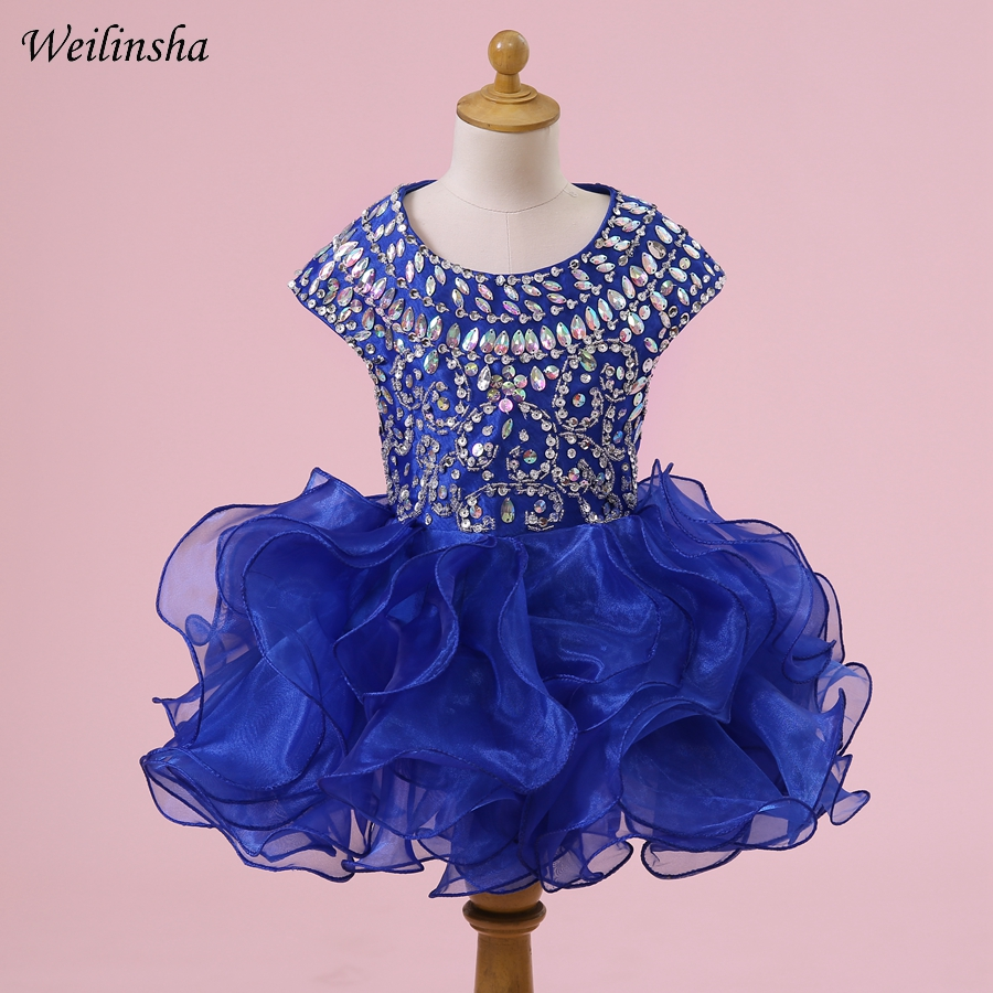 Weilinsha Luxurious   Flower     Girl     Dress   First Communion   Dresses   Royal Blue Rhinestones Organza for Children Formal Gowns