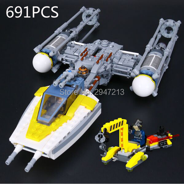 2017 hot compatible LegoINGlys Star Wars series Building Blocks Y-wing starfighter with figures Weapons brick toys for Children lepin 05040 star wars y wing attack starfighter model building kits blocks brick toys compatiable with lego kid gift set