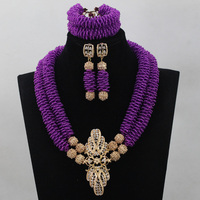 Nigerian Crytal Beads Necklace Jewelry Set For Women Purple Bib Statement Necklace Set Seed Beads Design