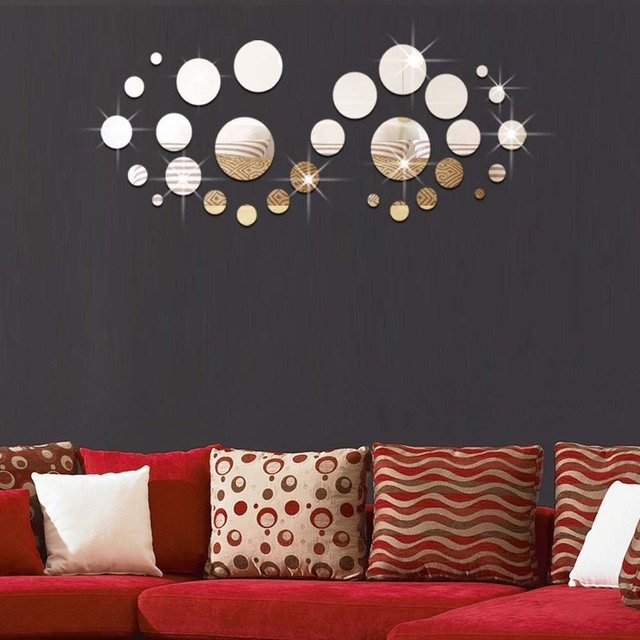 3d stereoscopic 29pcs round mirror wall stickers childrens room marriage room living room tv sofa background