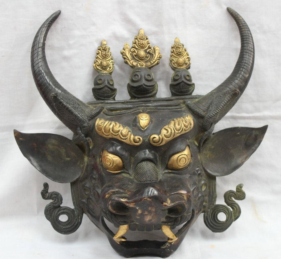 15 тибетский буддизм, Бронзовый gild Yamantaka Vajradhara Будда голова быка статуя бесплатная доставка