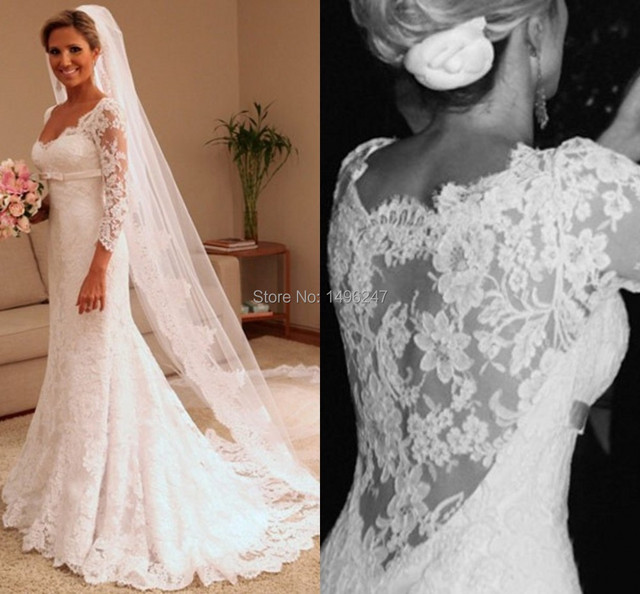 baf32bb482caf Custom Made White Appliques Lace Mermaid Wedding Dresses Sweetheart Long  Sleeve Lace Wedding Dresses Plus Size Wedding Dresses