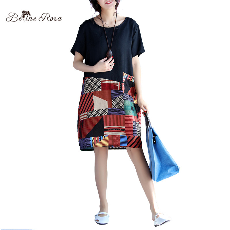 2017 Summer New Clothes for Women National Style Geometric Mini Length Cotton Linen Summer Dress Female QY000013