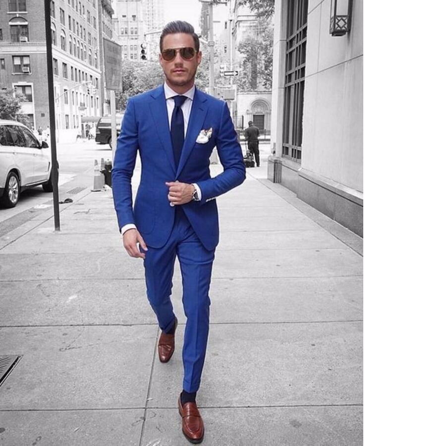 Italian Style Blue Groom Tuxedos Casual Man Suit Custom Made Mens ...