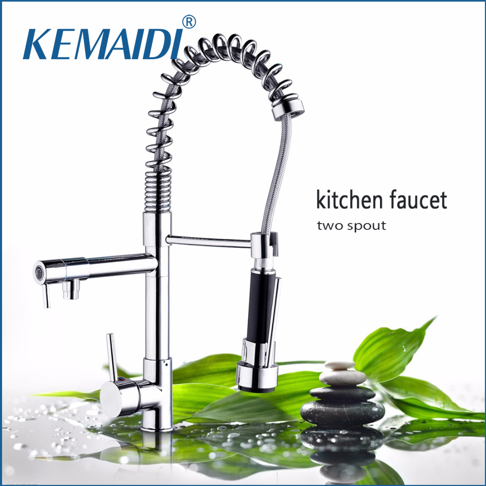 KEMAIDI Two Function 360 Swivel Pull Out Spout Kitchen Faucet Chrome Finish Deck Mounted Kitchen Vessel Sink Mixer Tap Torneira brass kitchen faucet swivel spout chrome kitchen sink mixer tap pull out spray swivel spout vessel faucet deck mounted