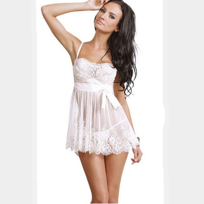 Letní noční košile Sexy krajkové noční šaty na spaní pro ženy Plus velikost Lingeire 3XL 4XL 5XL 6XL Dámské noční košile Erotické spodní prádlo
