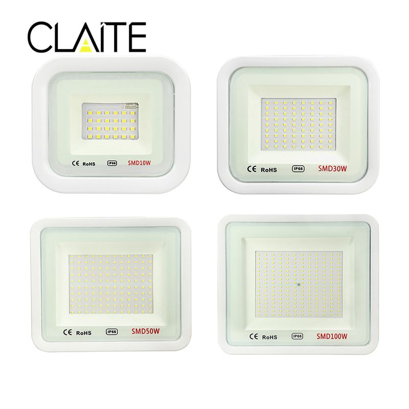 CLAITE 10W/30W/50W/100W White Light Waterproof IP66 LED Flood Light Thundering Protection Ourdoor AC220V охлаждение для компьютера cooltex 95x95x30mm 30w 100w 95x95x30 white