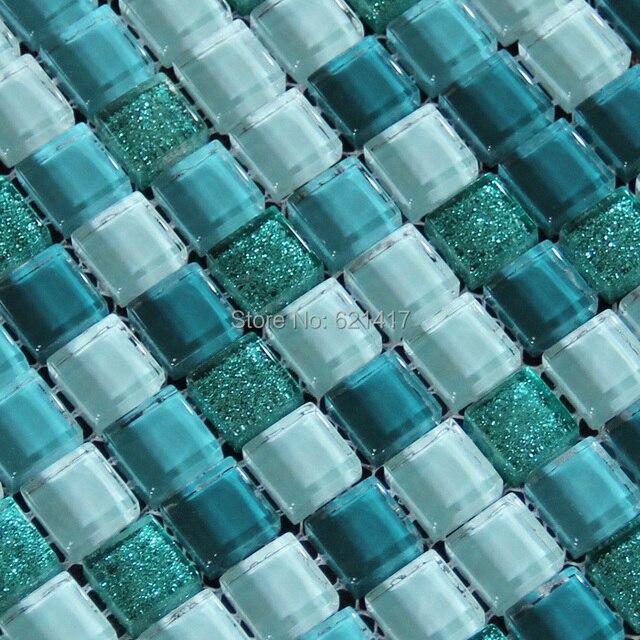 Carré Bleu Carreaux De Mosaïque De Verre Cuisine Dosseret En Mosaïque Salle  De Bains Douche 12x12