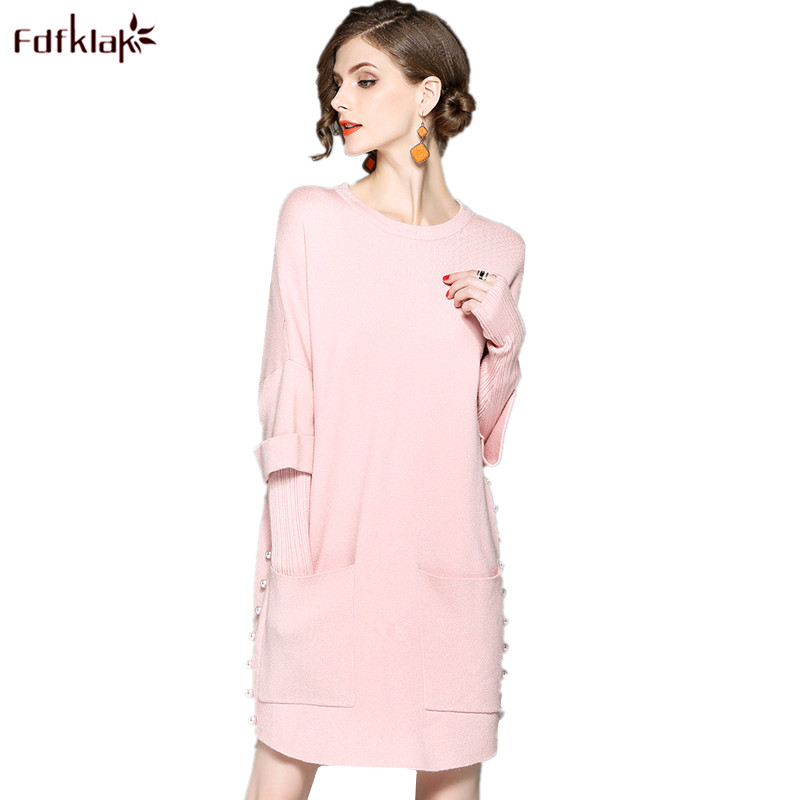 Fdfklak High Quality New Wool Dress Spring Autumn Beading Cashmere Dress Women Brand Knit Vestidos Long Sleeve Party Dresses ilismaba new ladies fashion sexy autumn long sleeved brand dresses high quality printed knitted elastic fabric women s dress