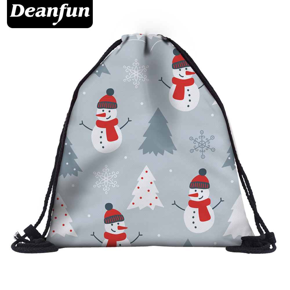 Deanfun 3D Printed Drawstring Bags Snowman Cute School Bags For Girls Christmas Gift  50381 #
