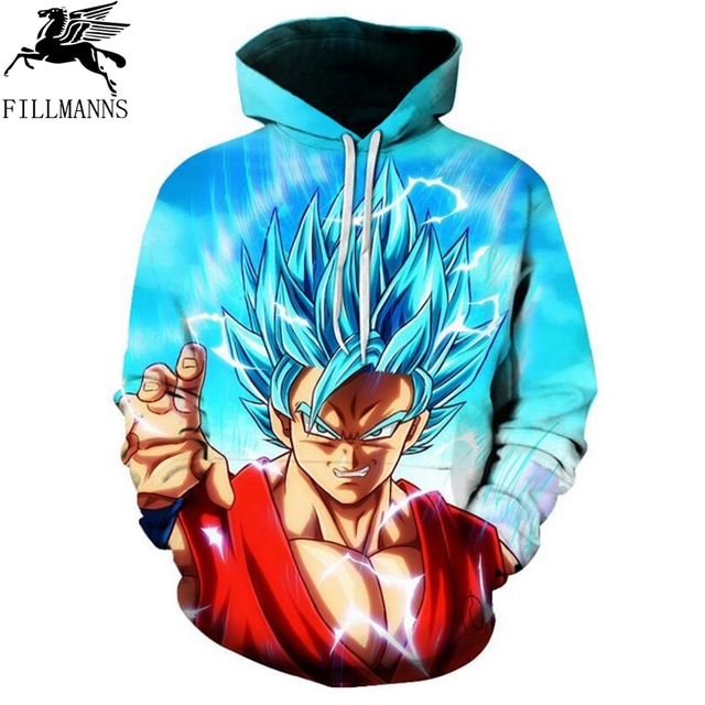 Dragon Ball Z Hoodie Pocket Sweatshirts men long sleeve cotton Kid Goku 3D Hooded Men Women 2017 new autumn Anime hoodies
