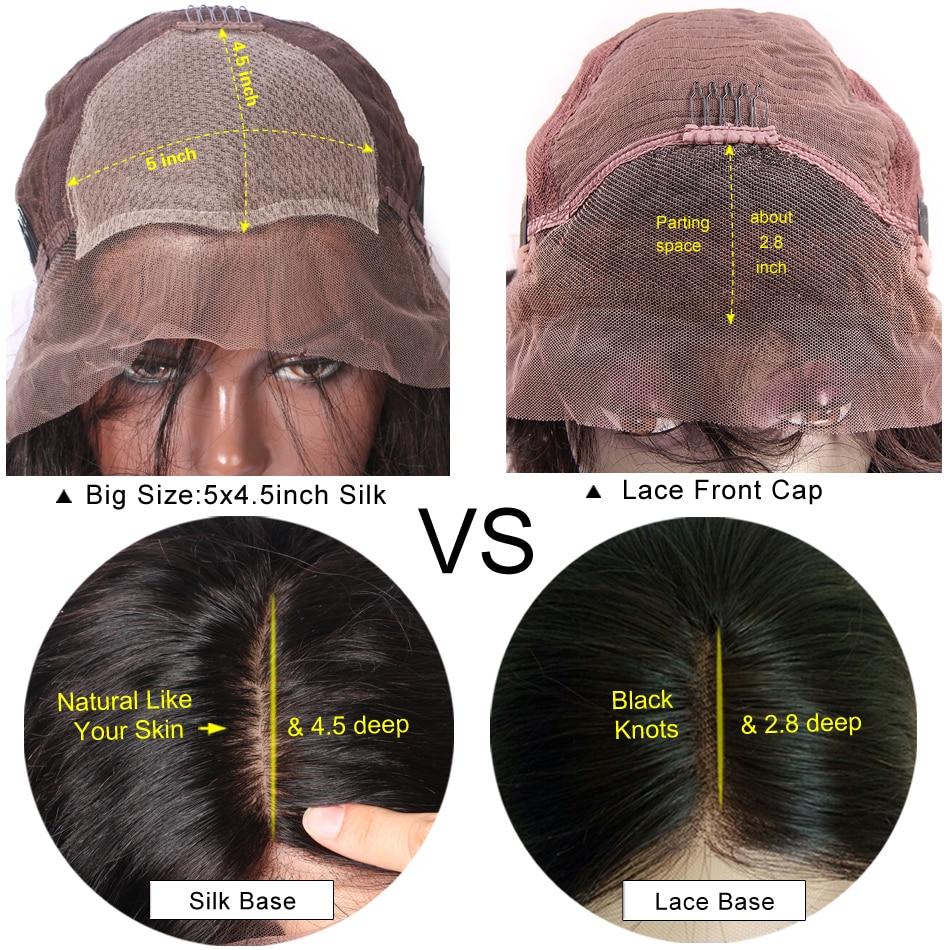 LUFFY Pre Pukan 250 Gostota svilene podlage Čipke Sprednje lasulje - Človeški lasje (za črne) - Fotografija 6