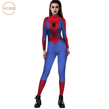 ISTider Spiderman Costume 3D Print Red Blue Spider Man Bodysuit for Halloween Cosplay Sexy Tight Rompers