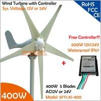 Hot Sale!!! 12V/24V AC 1.4m wheel diameter 3 blades 400W Wind Turbine Generator with free 600W Controller Wind Generator Kit