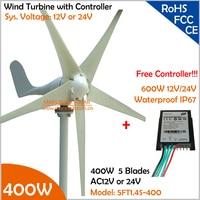 Vendita calda!!! 12 V/24 V AC 1.4 m diametro della ruota 5 lame 400 W Generatore di Turbina Eolica con spedizione 600 W Controller Kit Generatore Eolico