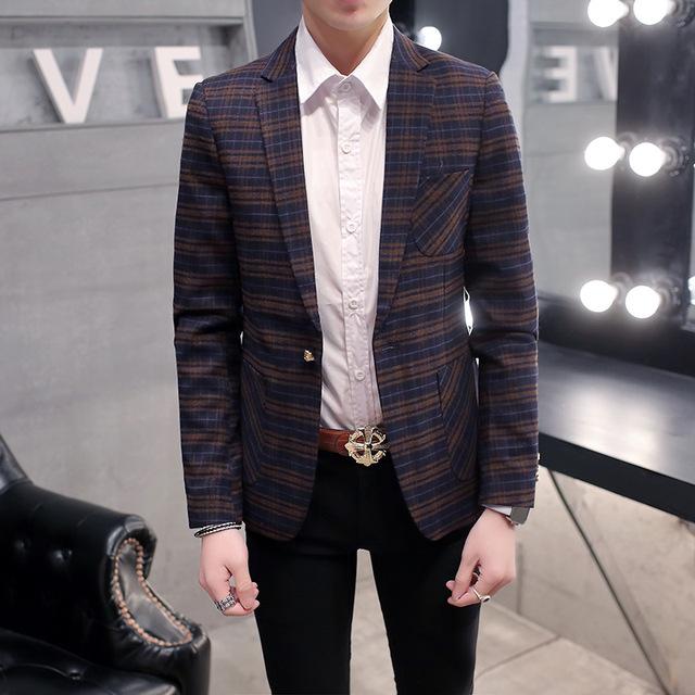 2016 New arrival Men suit blazers masculino mens suit jacket blazer Square plaid Wool suit Slim fit man coats Trend Autumn