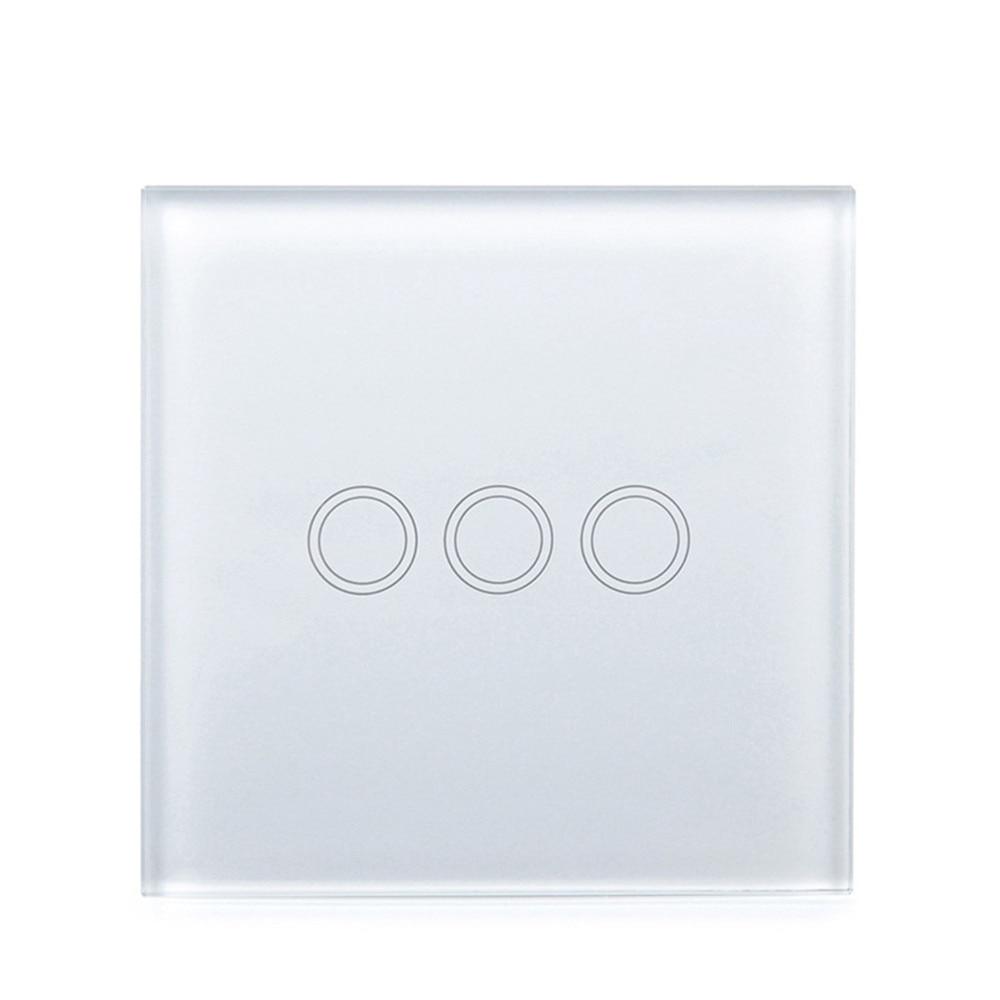 Роскошные белые черный жемчуг кристалл Стекло, 80 мм * 80 мм, стандарт ЕС, один Стекло Панель для 1 2 3 Банды сенсорный switc ...